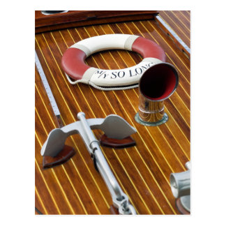 An Anchor And A Life-Buoy On A Wooden Boat Postcard