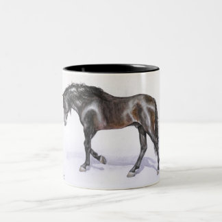 An andalusian HORSE walking, handpainted stallion Two-Tone Coffee Mug