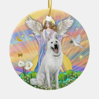 An Angel Blessing a White German Shepherd Ornaments