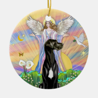 An Angel Blessing- Black Great Dane Natural ears Ornaments