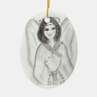 An Angel Ceramic Oval Ornament