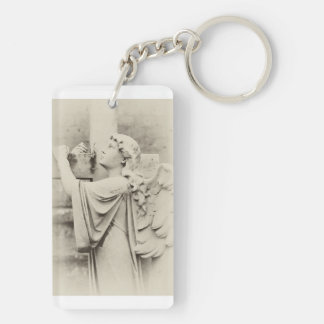 An Angel Headstone Double-Sided Rectangular Acrylic Keychain