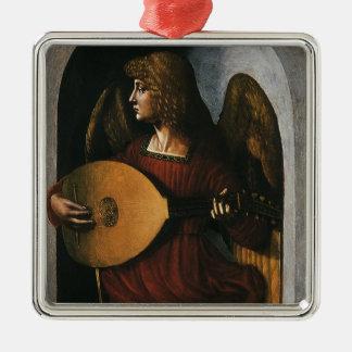 An Angel in Red with a Lute by Leonardo da Vinci Silver-Colored Square Ornament