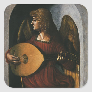 An Angel in Red with a Lute by Leonardo da Vinci Stickers