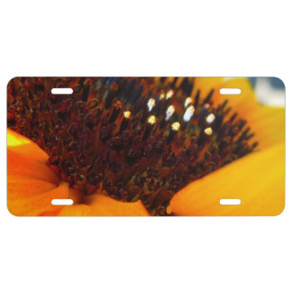 An Angled Sunflower License Plate