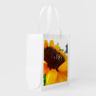 An Angled Sunflower Reusable Grocery Bag