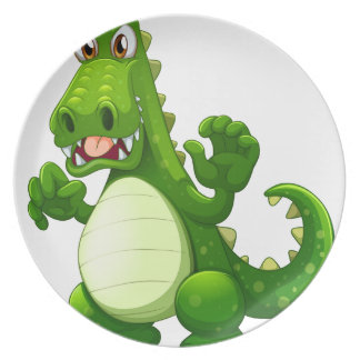 An angry crocodile plate