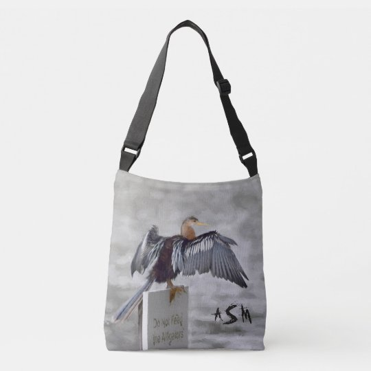 An Anhinga Bird Drying Their Wings Out Crossbody Bag