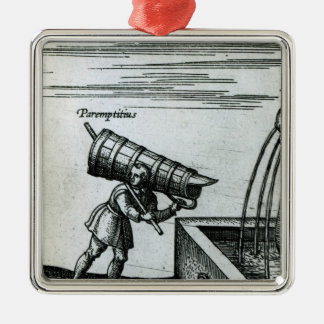 An apprentice fetching water from a fountain metal ornament