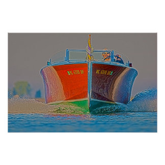 An Approaching Wooden Boat Poster