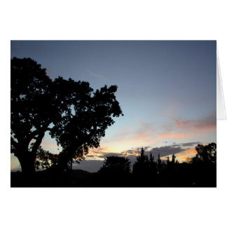 An April Sunset behind a Local Oak Tree Card