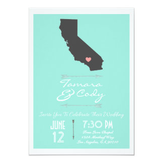 An Aqua Colored California Wedding Invitation