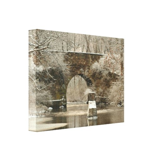 An Arched Stone Bridge Wrapped Canvas Stretched Canvas Print