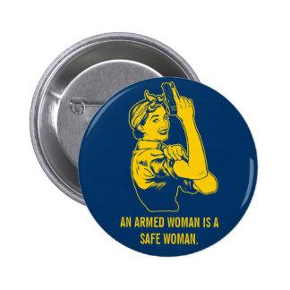 An Armed Woman Button