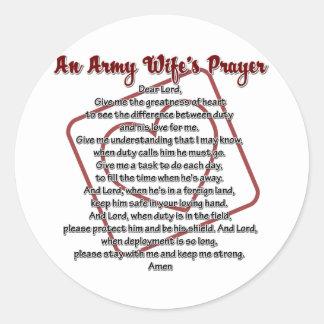 An Army Wife's Prayer Classic Round Sticker