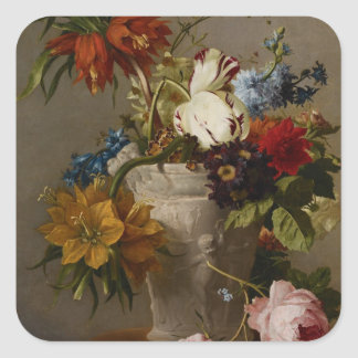 An Arrangement with Flowers, 19th century Square Sticker
