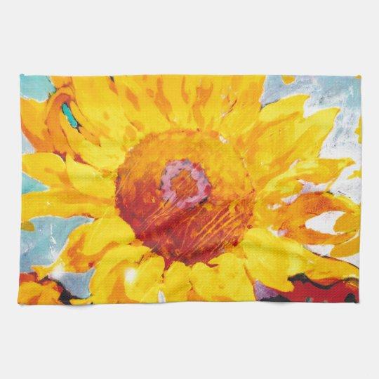 An Artsy Yellow Sunflower Kitchen Towel