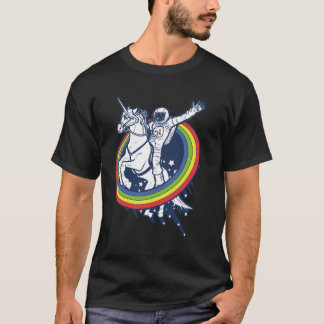 An astronaut riding a uncorn through a rainbow T-Shirt