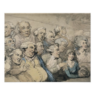 An Audience at Drury Lane Theatre (pen & ink and w Print