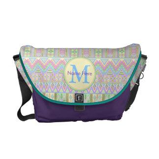 An Aztec Boho Pastels Monogram School Work Girly Commuter Bag