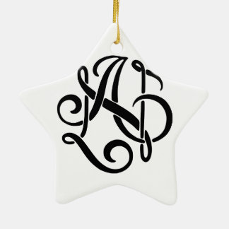 AN Black Monogram Ceramic Star Ornament