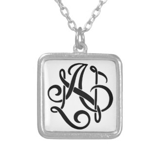 AN Black Monogram Silver Plated Necklace