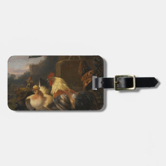 An Eagle, a Cockerell, Hens, a Pigeon in Flight Luggage Tag