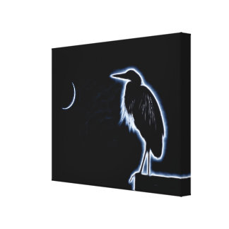 An Electric Blue Heron-Midnight Blue Background Canvas Print