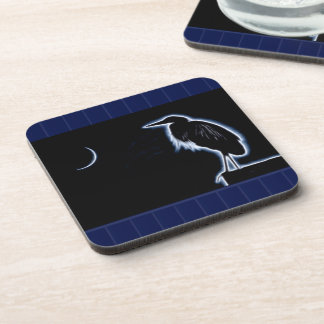 An Electric Blue Heron-Midnight Blue Background Coaster