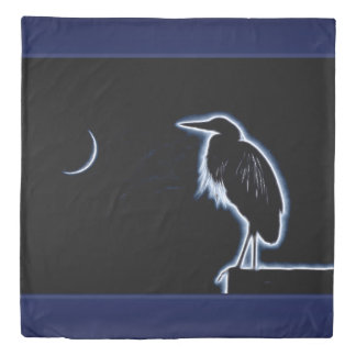 An Electric Blue Heron-Midnight Blue Background Duvet Cover
