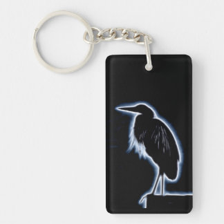 An Electric Blue Heron-Midnight Blue Background Keychain