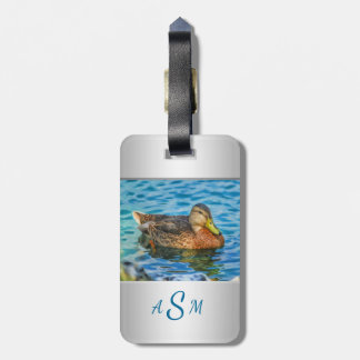 An Electric Blue Heron-Midnight Blue Background Luggage Tag