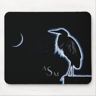 An Electric Blue Heron-Midnight Blue Background Mouse Pad