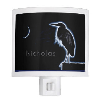 An Electric Blue Heron-Midnight Blue Background Night Lights