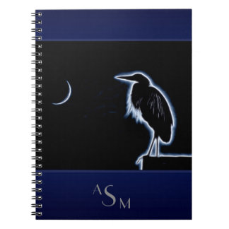 An Electric Blue Heron-Midnight Blue Background Notebooks