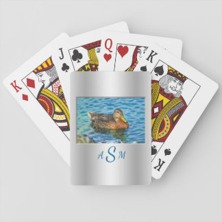 An Electric Blue Heron-Midnight Blue Background Playing Cards