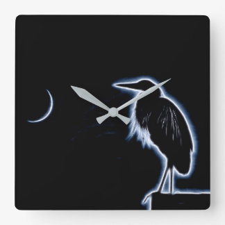 An Electric Blue Heron-Midnight Blue Background Square Wall Clock