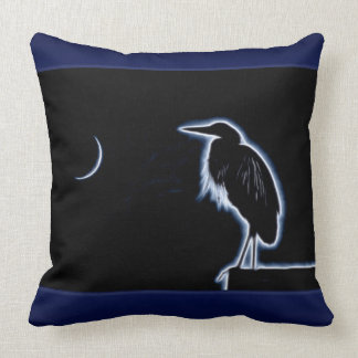 An Electric Blue Heron-Midnight Blue Background Throw Pillow