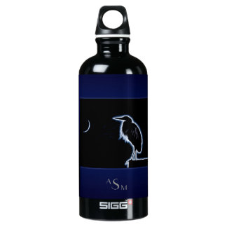 An Electric Blue Heron-Midnight Blue Background Water Bottle