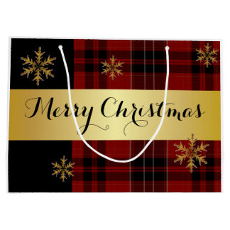 An Elegant Gold With Plaid Christmas Large Gift Bag