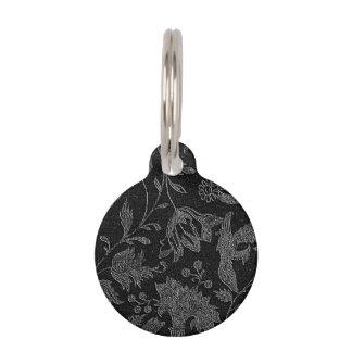 An Elegant Gothic vintage black floral pattern Pet Tag