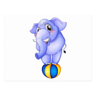An elephant above the bouncing ball postcard