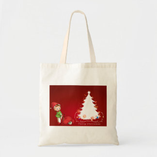 An elf beside the christmas tree