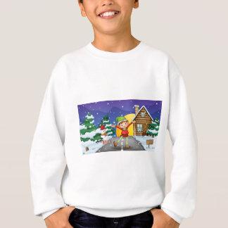 An elf enjoying the snow sweatshirt