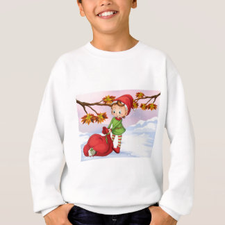 An elf holding a bag of gifts sweatshirt