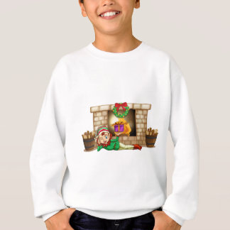 An elf in front of the fireplace sweatshirt