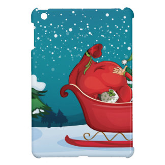 An elf riding on a sleigh with a sack of gifts iPad mini case