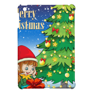 An elf watching the gift near the tall christmas t case for the iPad mini