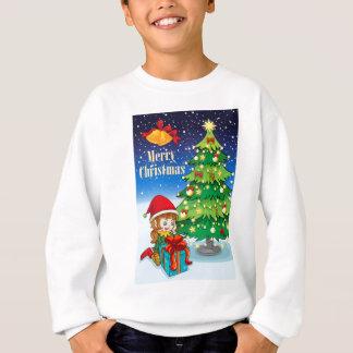 An elf watching the gift near the tall christmas t sweatshirt