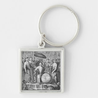 An Embassy from the East-India Silver-Colored Square Keychain